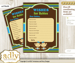 Twins Monkey Wishes for a Baby, Well Wishes for a Little Monkey Printable Card, Boys, Green Blue