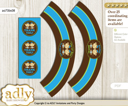 Printable Twins Monkey Cupcake, Muffins Wrappers plus Thank You tags for Baby Shower Green Blue, Boys