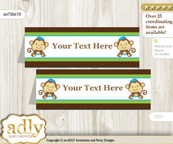 Printable Twins Monkey Buffet Tags or Food Tent Labels  for a Baby Shower or Birthday , Green Blue, Boys