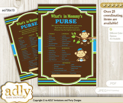 Twins Monkey What is in Mommy's Purse, Baby Shower Purse Game Printable Card , Green Blue,  Boys