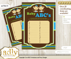 Twins Monkey Baby ABC's Game, guess Animals Printable Card for Baby Monkey Shower DIY – Boys