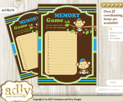 Twins Monkey Memory Game Card for Baby Shower, Printable Guess Card, Green Blue, Boys