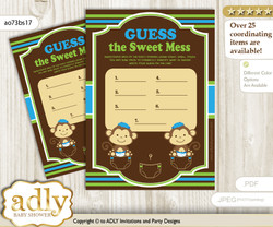 Twins Monkey Dirty Diaper Game or Guess Sweet Mess Game for a Baby Shower Green Blue, Boys