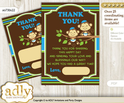 Twins  Monkey Thank you Cards for a Baby Twins Shower or Birthday DIY Green Blue, Boys