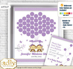 Twins Monkey Guest Book Alternative for a Baby Shower, Creative Nursery Wall Art Gift, Lavender, Girls