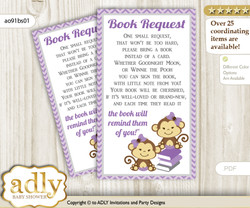 Request a Book Instead of a Card for Twins Monkey Baby Shower or Birthday, Printable Book DIY Tickets, Girls, Lavender
