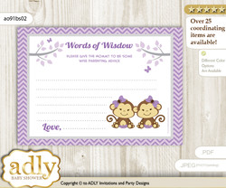 Lavender Twins Monkey Words of Wisdom or an Advice Printable Card for Baby Shower, Girls