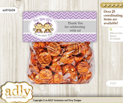 Twins Monkey Treat or Goodie bag Toppers for Baby Twins Shower or Birthday DIY Lavender, Girls