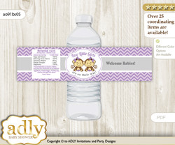 Twins Monkey Water Bottle Wrappers, Labels for a Monkey  Baby Shower, Lavender, Girls