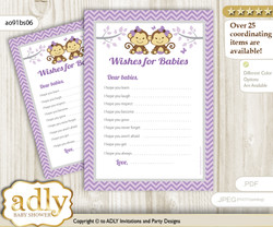 Twins Monkey Wishes for a Baby, Well Wishes for a Little Monkey Printable Card, Girls, Lavender
