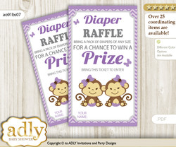Twins Monkey Diaper Raffle Printable Tickets for Baby Shower, Lavender, Girls