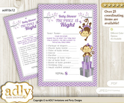 Printable Twins Monkey Price is Right Game Card for Baby Monkey Shower, Lavender, Girls