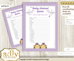 Printable Twins Monkey Baby Animal Game, Guess Names of Baby Animals Printable for Baby Monkey Shower, Lavender, Girls