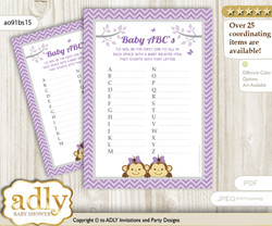 Twins Monkey Baby ABC's Game, guess Animals Printable Card for Baby Monkey Shower DIY – Girls