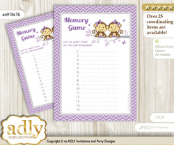 Twins Monkey Memory Game Card for Baby Shower, Printable Guess Card, Lavender, Girls