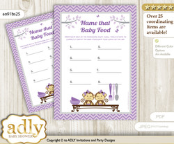 Twins Monkey Guess Baby Food Game or Name That Baby Food Game for a Baby Shower, Lavender Girls