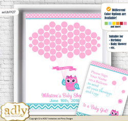 Girl Owl Guest Book Alternative for a Baby Shower, Creative Nursery Wall Art Gift, Pink, Teal