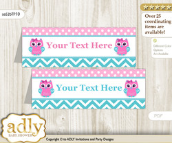 Printable Girl Owl Buffet Tags or Food Tent Labels  for a Baby Shower or Birthday , Pink, Teal