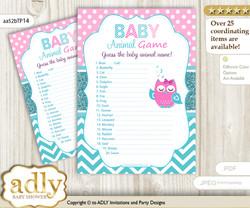 Printable Girl Owl Baby Animal Game, Guess Names of Baby Animals Printable for Baby Owl Shower, Pink, Teal