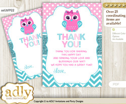 Girl  Owl Thank you Cards for a Baby Girl Shower or Birthday DIY Pink, Teal