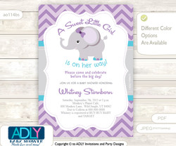 Purple, Turquoise Grey Elephant Shower Digital Invitation