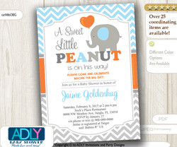 Baby Blue, Grey and Orange Elephant Boy Invitation for Baby Shower