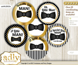 Baby Shower Boy Bow Tie Cupcake Toppers Printable File for Little Boy and Mommy-to-be, favor tags, circle toppers, Stripes, Black Gold