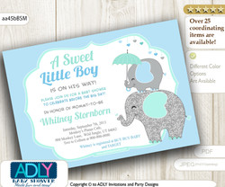 Grey, Blue, Mint Elephant Invitation for Boy shower