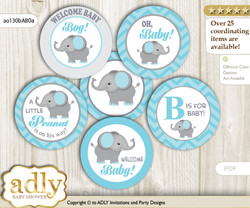 Baby Shower Peanut Elephant Cupcake Toppers Printable File for Little Peanut and Mommy-to-be, favor tags, circle toppers, Chevron, aqua grey