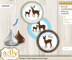 Printable  Boy Deer Candy Kisses for Baby Boy Shower DIY Blue Brown , Wood