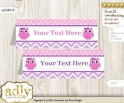 Printable Girl Owl Buffet Tags or Food Tent Labels  for a Baby Shower or Birthday , Purple Pink, Glitter
