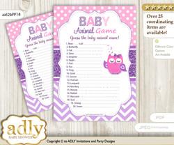Printable Girl Owl Baby Animal Game, Guess Names of Baby Animals Printable for Baby Owl Shower, Purple Pink, Glitter