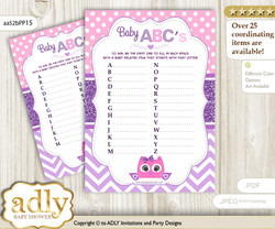 Girl Owl Baby ABC's Game, guess Animals Printable Card for Baby Owl Shower DIY – Glitter