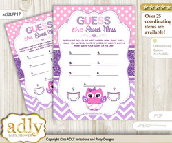 Girl Owl Dirty Diaper Game or Guess Sweet Mess Game for a Baby Shower Purple Pink, Glitter