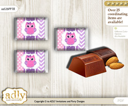 Girl Owl Chocolate Nuggets Candy Wrapper Label for Baby Girl Shower  Purple Pink , Glitter