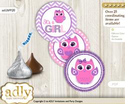 Printable  Girl Owl Candy Kisses for Baby Girl Shower DIY Purple Pink , Glitter