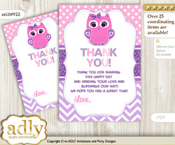 Girl  Owl Thank you Cards for a Baby Girl Shower or Birthday DIY Purple Pink, Glitter
