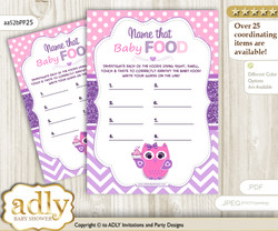 Girl Owl Guess Baby Food Game or Name That Baby Food Game for a Baby Shower, Purple Pink Glitter