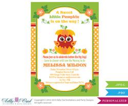 Pumpkin Owl Gender Neutral Baby Shower Printable DIY party invitation