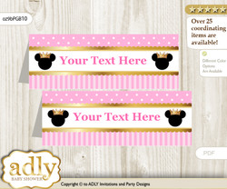 Printable Minnie Mouse Buffet Tags or Food Tent Labels  for a Baby Shower or Birthday , Pink Gold, Princess