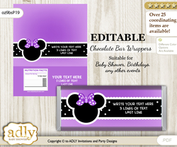 Personalizable Minnie Mouse Chocolate Bar Candy Wrapper Label for Minnie  baby shower, birthday Purple , Bow