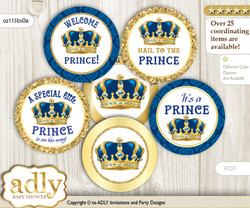 Baby Shower King Prince Cupcake Toppers Printable File for Little King and Mommy-to-be, favor tags, circle toppers, Royal, Blue Gold