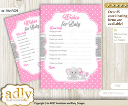 Girl Elephant Wishes for a Baby, Well Wishes for a Little Elephant Printable Card, Polka, Pink Grey