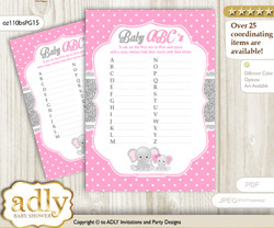 Girl Elephant Baby ABC's Game, guess Animals Printable Card for Baby Elephant Shower DIY – Polka