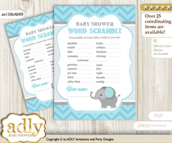 Peanut Elephant Word Scramble Game for Baby Shower