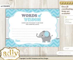 aqua grey Peanut Elephant Words of Wisdom or an Advice Printable Card for Baby Shower, Chevron