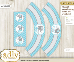 Printable Peanut Elephant Cupcake, Muffins Wrappers plus Thank You tags for Baby Shower aqua grey, Chevron