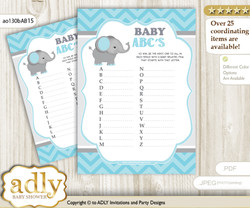 Peanut Elephant Baby ABC's Game, guess Animals Printable Card for Baby Elephant Shower DIY – Chevron