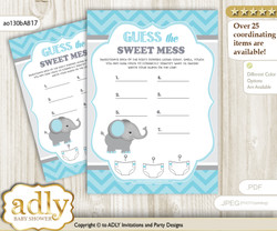 Peanut Elephant Dirty Diaper Game or Guess Sweet Mess Game for a Baby Shower aqua grey, Chevron
