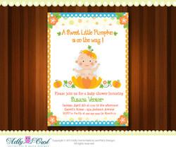 Personalized Pumpkin Baby Boy Shower Printable DIY party invitation